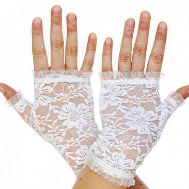 Gloves Fingerless Lace White