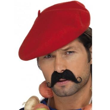 Hat Beret Felt Red