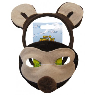 Mask and Headband Monkey Brown