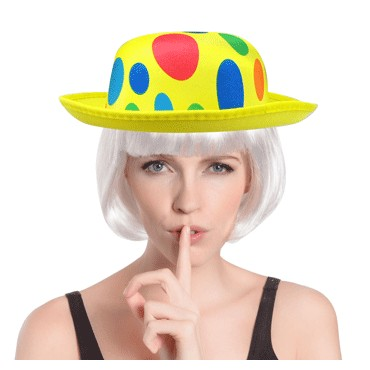Hat Bowler Clown Polka Dots