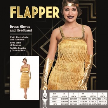 Costume Adult Flapper Gold S