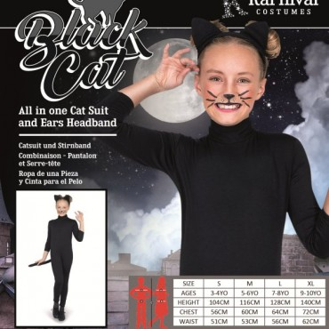 Costume Child Cat Black L