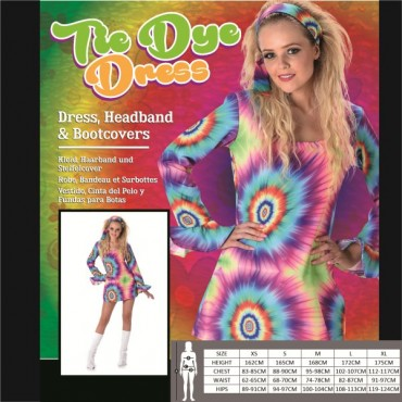 Costume Adult Tye Dye Dress M