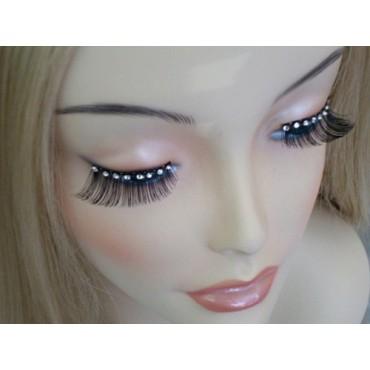 Eyelashes Black with Diamontes