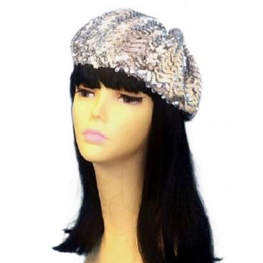 Hat Beret Silver Sequin
