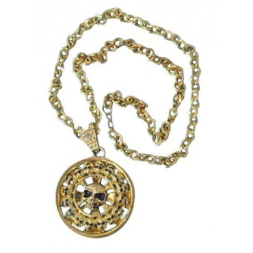 Necklace Chain Skull Gold...