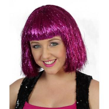 Wig Tinsel Hot Pink Bob