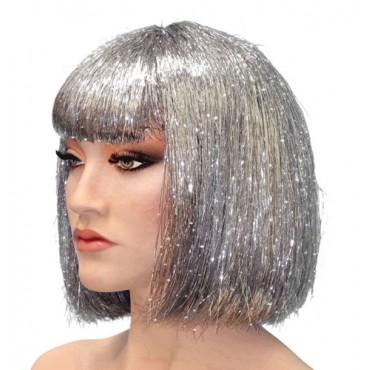 Wig Tinsel Silver Bob