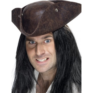 Hat Pirate Leather Look Brown