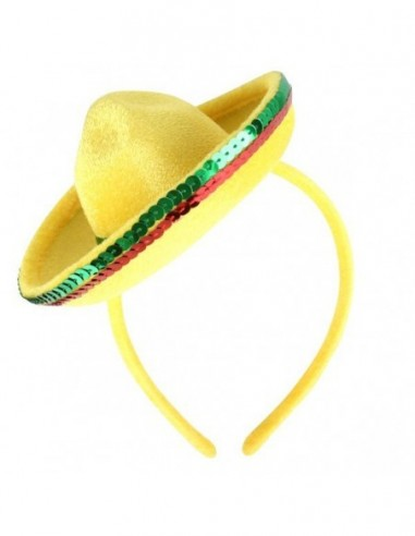 0fbe24da A Mexican Mini Yellow Sombrero Headband Hat is a great addition to any  Mexican fiesta costume. This bright yellow colour mini sombrero has red and  green ...