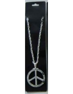 Necklace Peace Sign Metal...