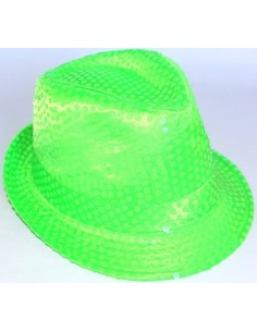 Hat Fedora Neon Green Sequin