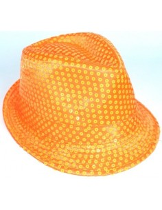 Hat Fedora Neon Orange Sequin