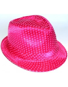 This shimmering bright pink colour fedora hat is decorated with clear neon  sequins for added sparkly effect. a9049f6428a