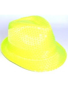 This shimmering bright sunny yellow colour fedora hat is decorated with  clear neon sequins for added sparkly effect. 9f480487aa8